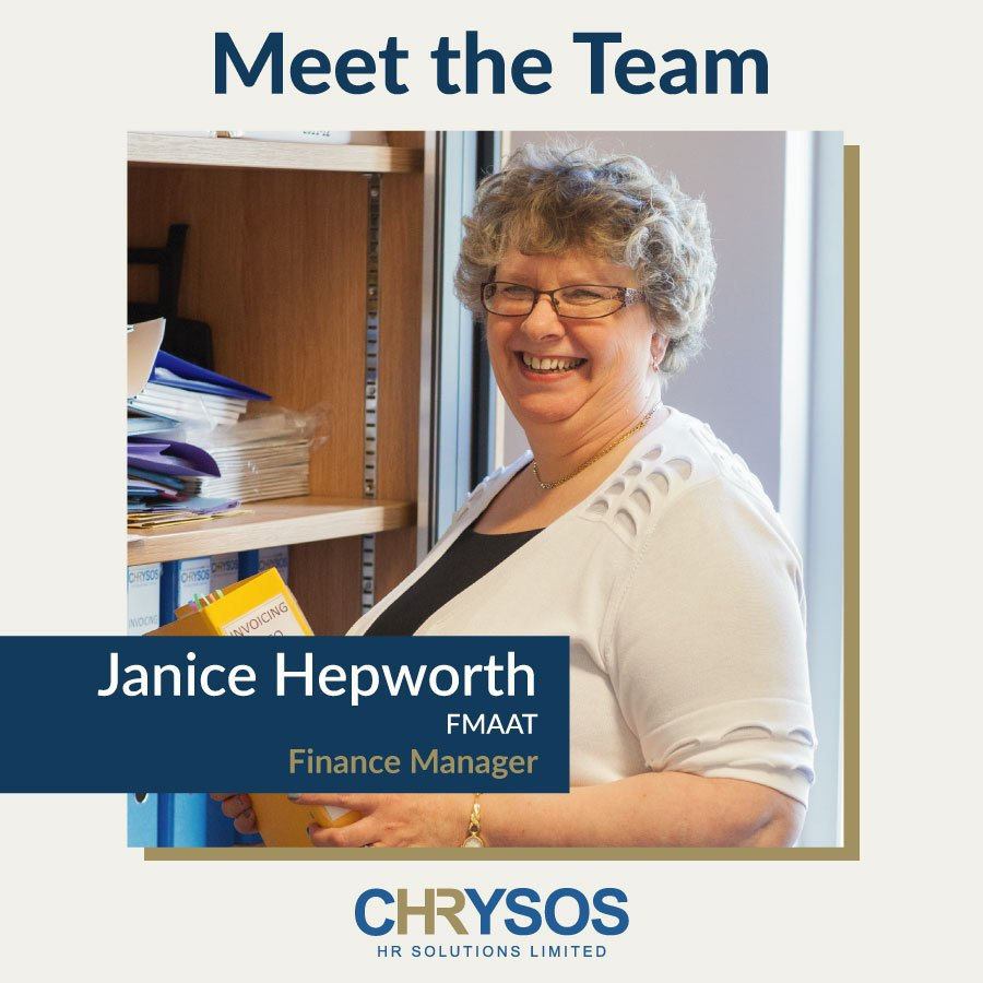 Janice Hepworth, our Finance Manager and has been working with us since 2007. She has more than 35 years' experience in accounting & office administration & is a Fellow (Founder) member of the Association of Accounting Technicians. #MeettheTeam #cHRysosHR bit.ly/2Nf35fZ