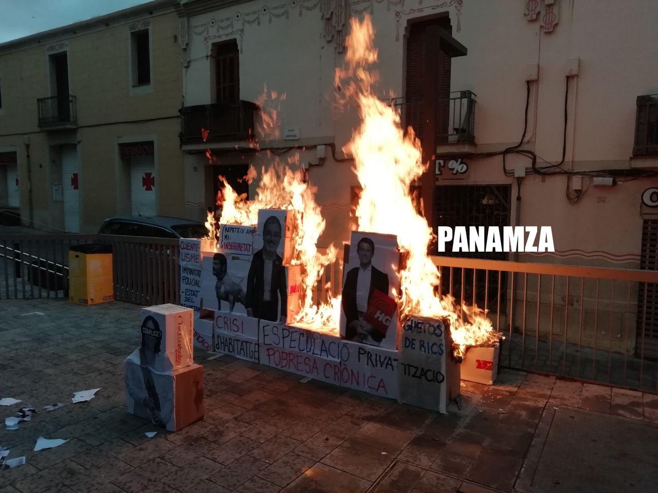 Le portrait de Manuel Valls incendié à Barcelone