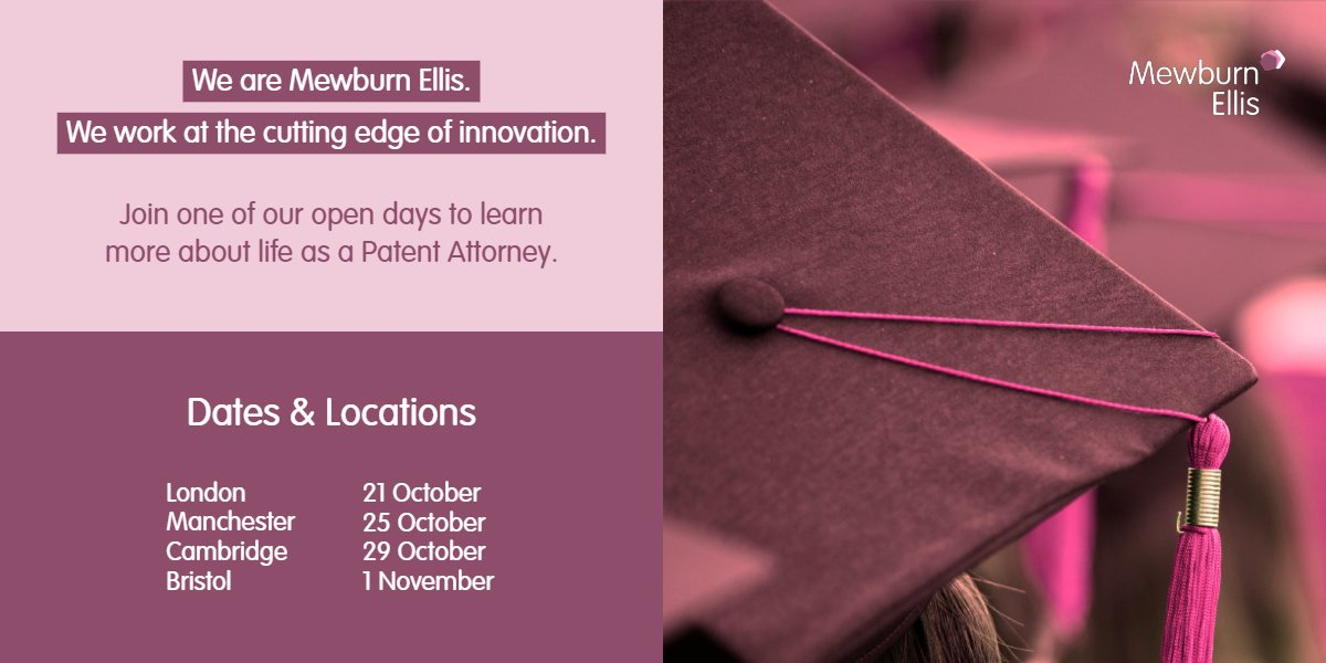 Join one of Mewburn Ellis' #opendays to learn about a career as a #PatentAttorney. Primarily these days are aimed at those studying #STEM subjects at any level. Learn more and register your interest here: bit.ly/301prrU.
