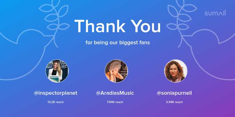 Our biggest fans this week: inspectorplanet, AradiasMusic, soniapurnell. Thank you! via sumall.com/thankyou?utm_s…