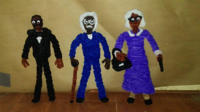 Happy 50th birthday to Tyler Perry!!!!! I made these chenille figures in honor of you.