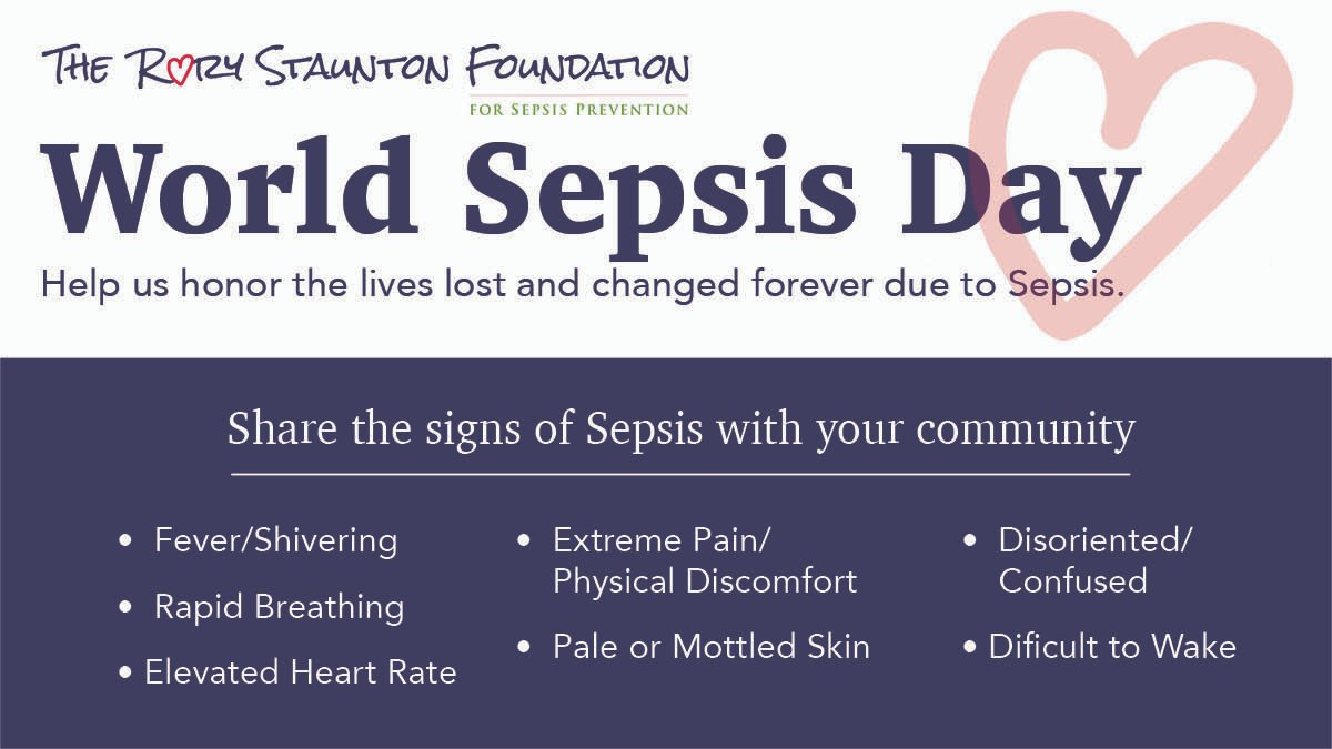 #WorldSepsisDay  Sepsis is a potentially fatal medical emergency. Time matters.  If you or a loved one suspects sepsis or has an infection that's not getting better, ask your doctor if you're at risk.  Know the symptoms. Protect yourself & your family.  https://t.co/y0rWCXRUaw