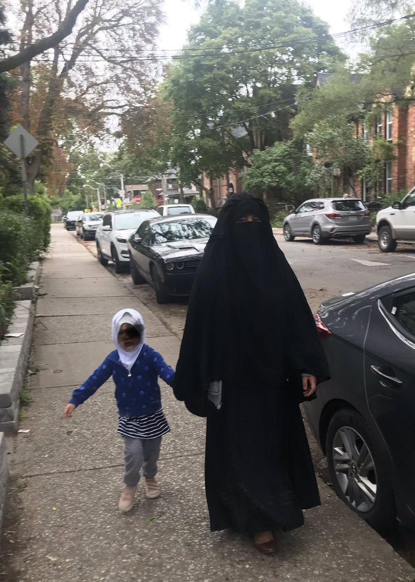 This was the scene this morning in my neighborhood in Toronto this morning.   A permanently unemployable mom who had sexualized  her two to three-year old daughter by draping her in a tight headwrap hijab.   Is this what feminists and diversity advocates want to import in Canada? <br>http://pic.twitter.com/cHKm54kaWf