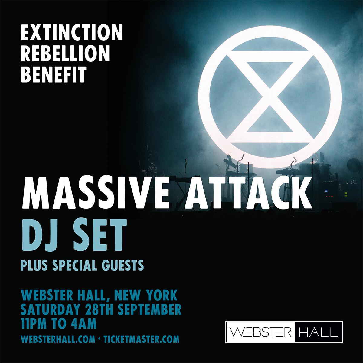 Multi award winning British artists Massive Attack playing a one-off show at the historic Webster Hall NYC, in support of @XR_NYC & Oct #internationalrebellion - expect very special guests & an unforgettable night. All proceeds to XR.