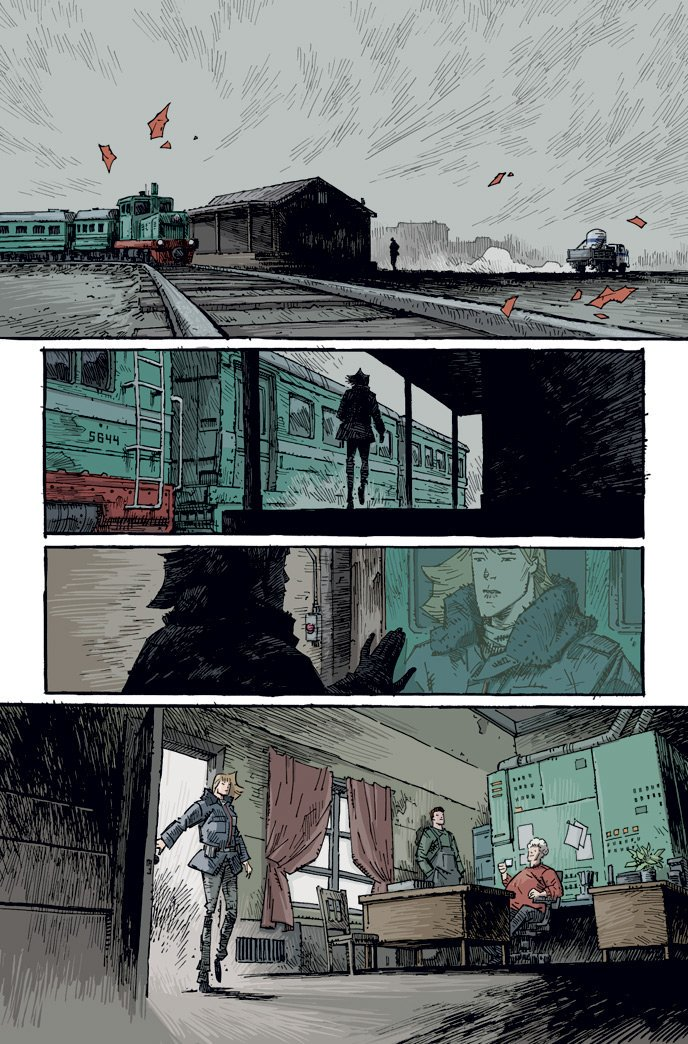 Art process! A favorite page of mine from this weeks TREES Three Fates 1. Trains! @warrenellis @ImageComics