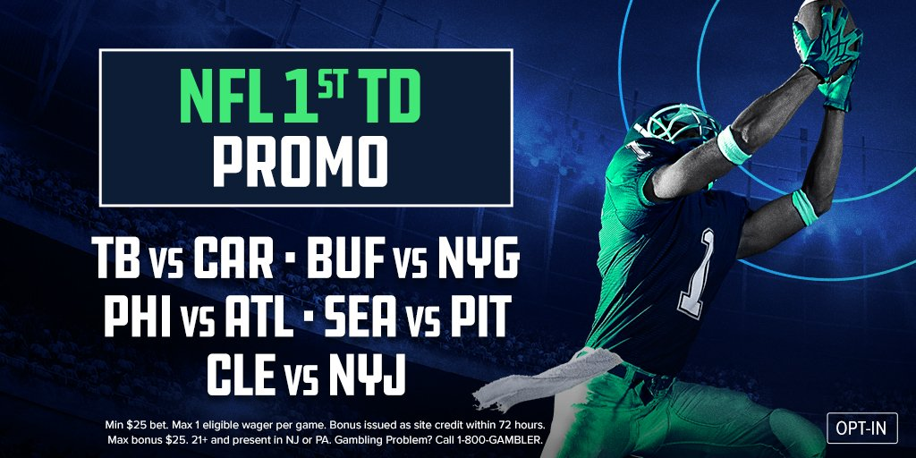NFL First TD Bonus   Bet $25+ on any player to score the game's first TD and we'll give you a $5 bonus for every TD your player's team scores   Applicable Games:  • BUF vs NYG • SEA vs PIT • ATL vs PHI • CLE vs NYJ    http:// go.fanduel.com/First-TD    <br>http://pic.twitter.com/LtoIMVoXhf