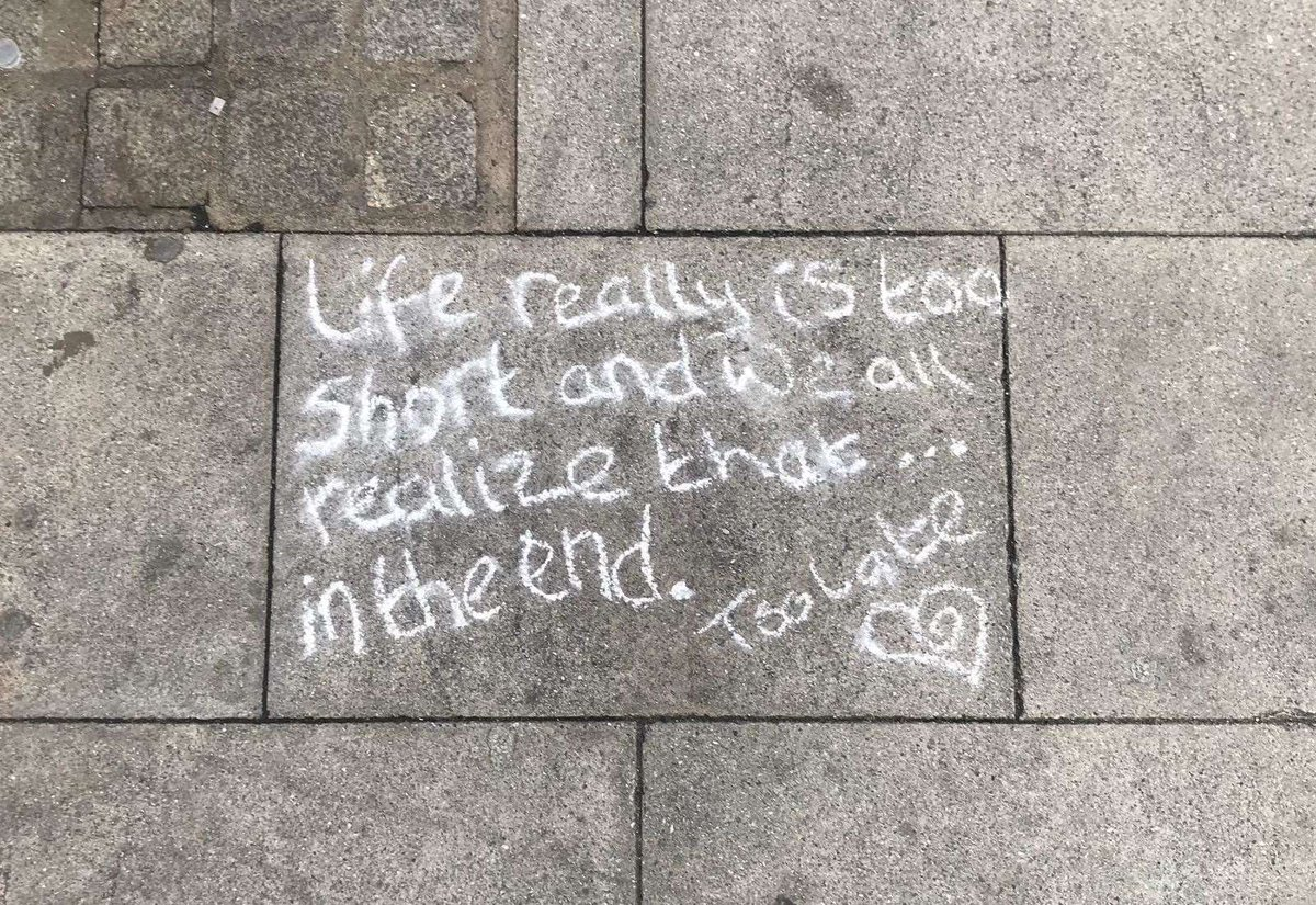 Mystery messages scribbled around town on #nationalsuicidepreventionday  https://buff.ly/2ZV48Js