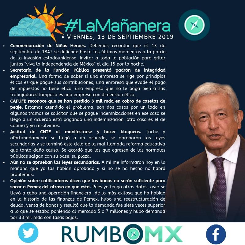 El resumen de #LaMananera de @lopezobrador_ en #RumboMX