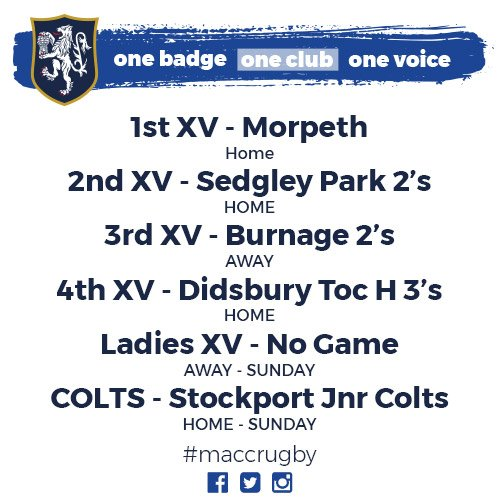 test Twitter Media - Looking forward to the madness this weekend! Don't forget, 1st XV game against Morpeth kicks off at 2:15 pm 🏉  #MaccRugby https://t.co/YhPG6s3BxW