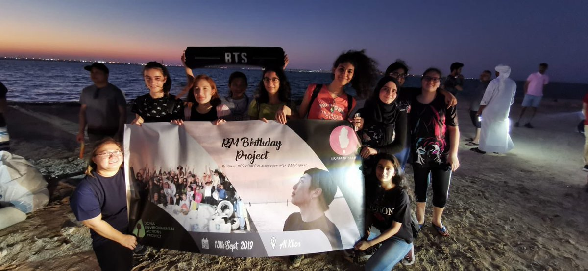 In celebration of Namjoon's birthday, Qatar ARMYs conducted a beach clean up project in Al Khor in cooperation with Doha Environmental Actions Project (DEAP). #HappyBirthdayNamjoon #cleanupARMY #BeachCleanUpRM<br>http://pic.twitter.com/FlELQouTqR