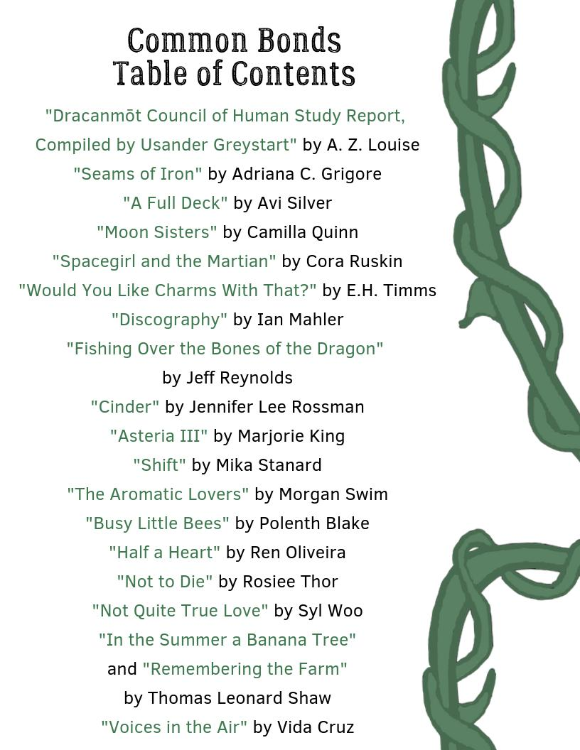 The Common Bonds Table of Contents presented as one list, with vines running on the right side; content tweeted below.