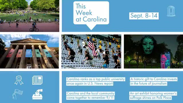 We saw the Carolina community come together this week —to celebrate, commemorate and reflect. Take a look at a few of the headlines from the past seven days at #UNC 💙 https://t.co/USFQMGqOUv