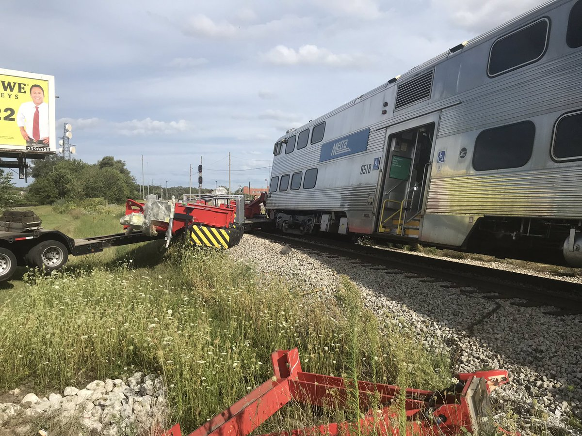 Metra train derails after hitting truck on Southwest Side; no injuries reported