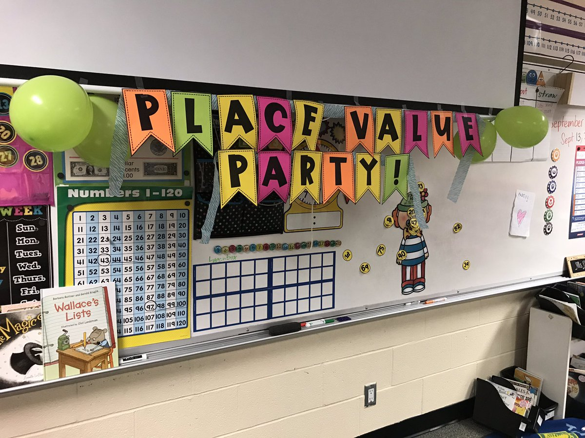 """Had a mini Place Value Party  today to celebrate finishing our place value unit! We made PV """"cakes"""" & each got a royal number & made PV crowns that showed our tens & ones and expanded form and played pin the number on the place value clown! @HumbleISD_DWE #dwe2020 #bethelight<br>http://pic.twitter.com/87zXBD21hO"""