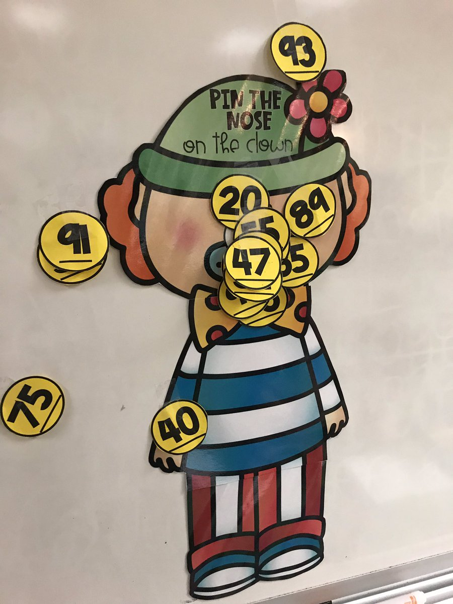 Students had to tell me how many tens and how many ones their number had then they got to try to pin the nose on the clown!  @HumbleISD_DWE #dwe2020 #bethelight<br>http://pic.twitter.com/P8vQDeGO4y