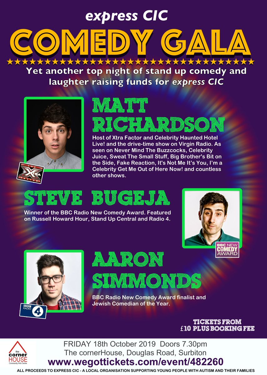RT @expresscic join us for a great night of comedy for a great cause 🙂 at @cornerHOUSEarts #Surbiton 18th October  *EarlyBird Tickets 2 for £20*  Find out more and BOOK TICKETS https://t.co/7e0QAbi470