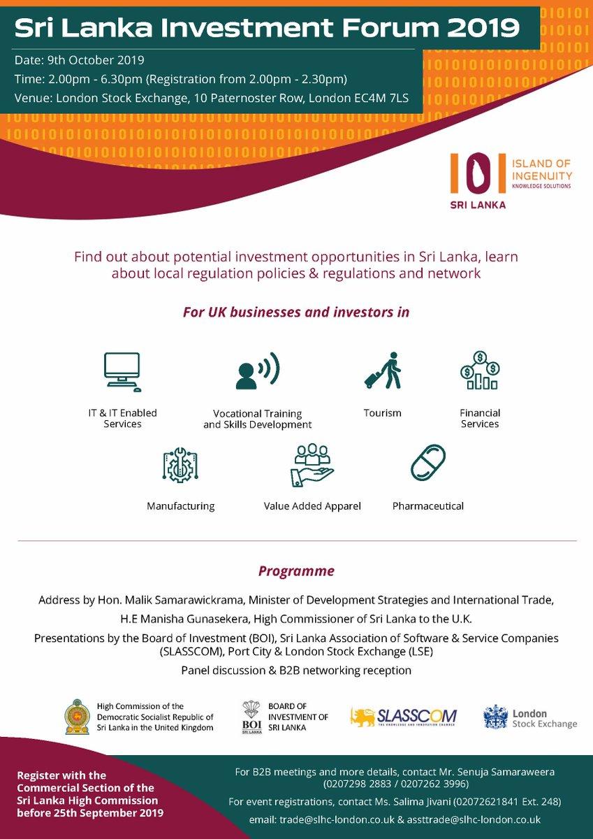 Sri Lanka Investment Forum 2019 on 09 October 2019 at 2.00 pm at London Stock Exchange  Register before 25 September 2019