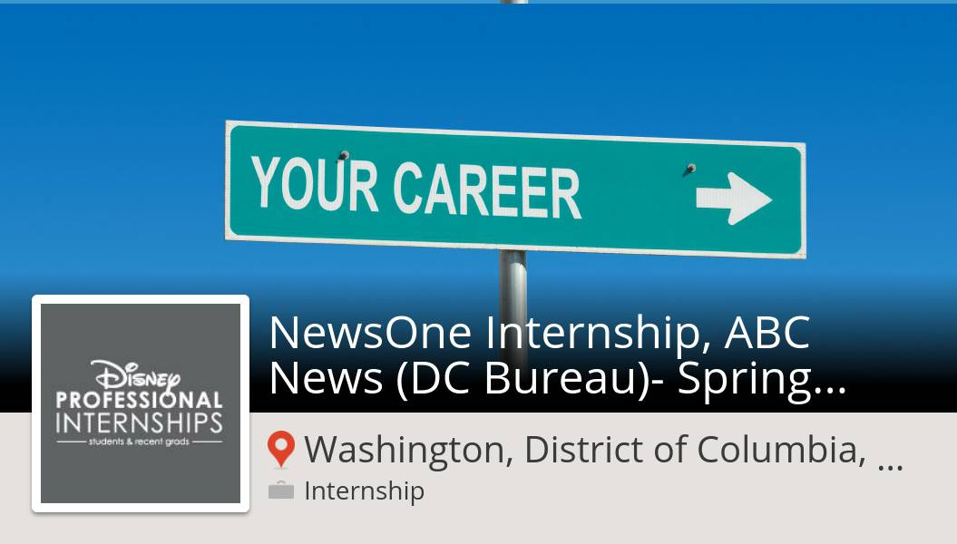 #DisneyInterns is hiring! #NewsOne #Internship, ABC News (DC Bureau)- Spring 2020 in #Washington, apply now! #internship https://workfor.us/disneyinterns/765gl… #DisneyJobs
