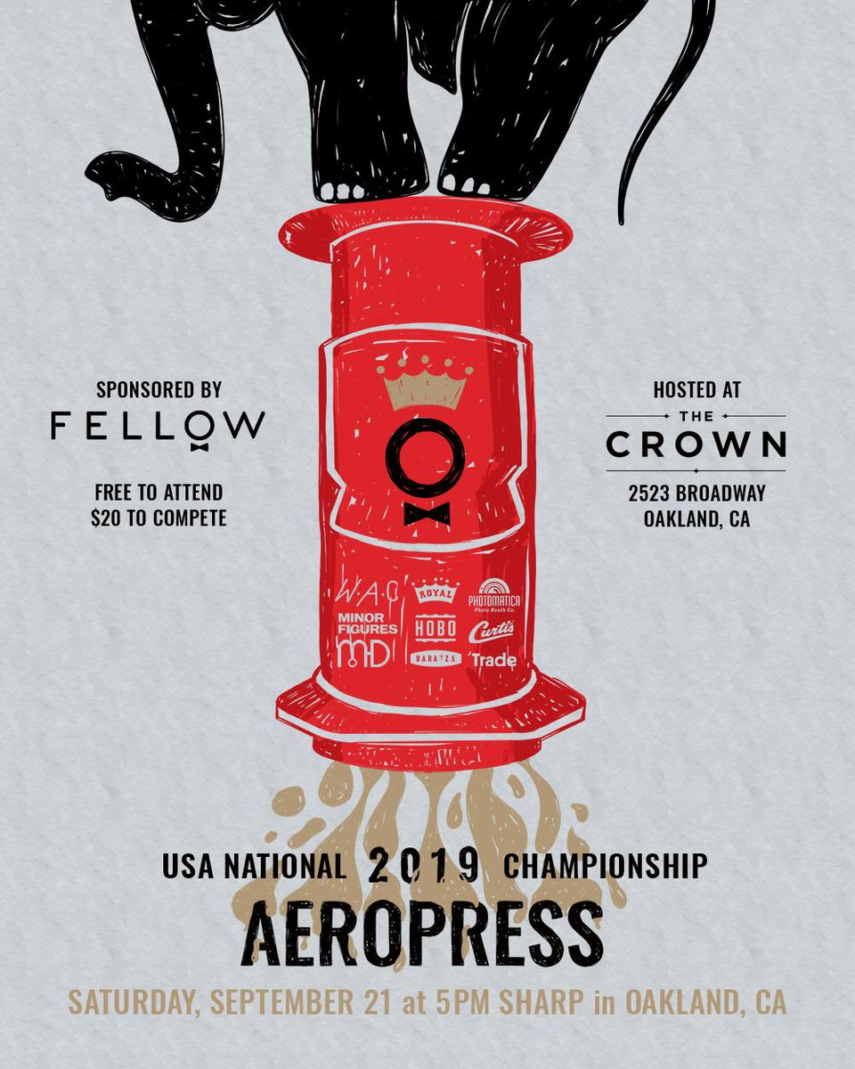 Were hosting the USA National @AeroPressHQ Championships with @FellowProducts September 21st at The Crown! Join us for an evening of friendly competition and delicious coffee: ow.ly/Qg0H50vZsVJ