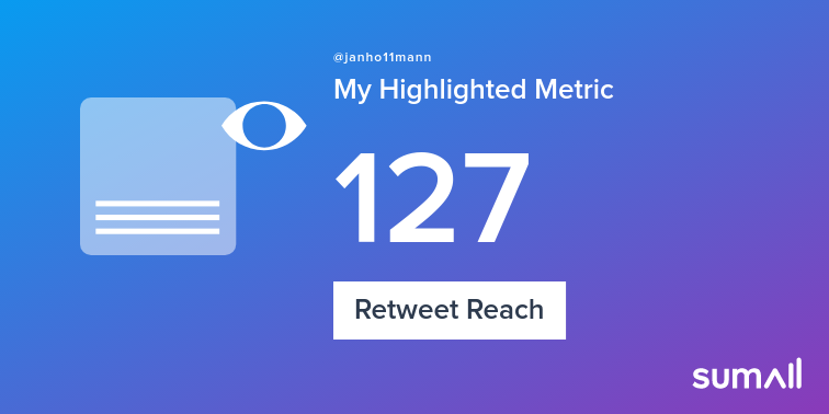 My week on Twitter 🎉: 4 Mentions, 3 Likes, 1 Retweet, 127 Retweet Reach, 4 Replies. See yours with https://t.co/JR2P4aTpOV