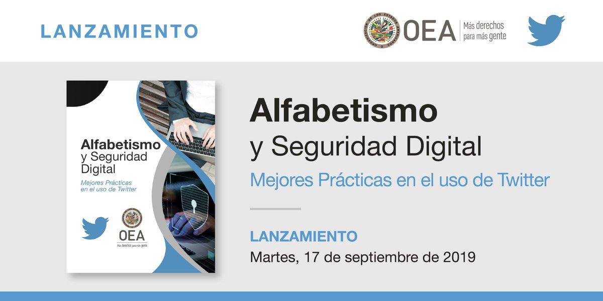 """El MARTES 1⃣7⃣ de septiembre lanzaremos la #GuiaTwitterOEA """"Alfabetismo y Seguridad Digital. Mejores Prácticas en el uso de Twitter"""" Resultado de la unión de esfuerzos de @OEA_Oficial y @TwitterSeguro para frente a los desafíos de la #ciberseguridad y los retos de la información"""