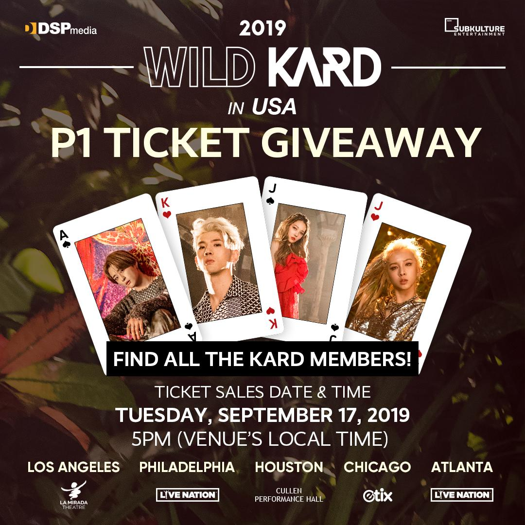 Enter for a chance to win a pair of 🎟 P1 tickets 🎟 to see @KARD_Official during 2019 WILD KARD TOUR IN USA! Ends Sun, 9/15 at 11:59PM PDT, so make sure to get those entries in 🤘 Tickets go on sale Tue, 9/17 at 5PM (Venue's Local Time)! #WILDKARDinUSA