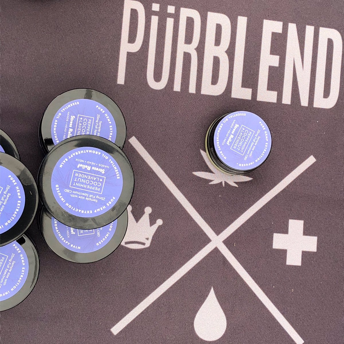 Stress Relief Balm. The herbalicious scent may relax and soothes the senses while the essential oils, botanicals and hemp derived CBD loosen up those temples, head and neck muscles. @purblend  #CBD #SanDiegoCBD #SanDiego #cbdheals #LosAngeles #CBDlife #Organic #PurblendScience<br>http://pic.twitter.com/407kII8gjx