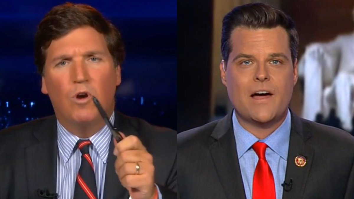 ".@TuckerCarlson: ""I almost never get mad - I am mad. How dare someone look into a screen and say ""you don't need that weapon, but I do""?Gaetz: ""Because Washington is a city surrounded on all sides by reality."""