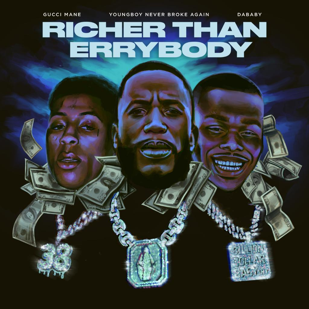 .@gucci1017, @DaBabyDaBaby, and @GGYOUNGBOY have linked up for their new heater Richer Than Errybody ...and we feel like money after listening to it. 💸 Spin it now: pdora.co/2ZPLZvV