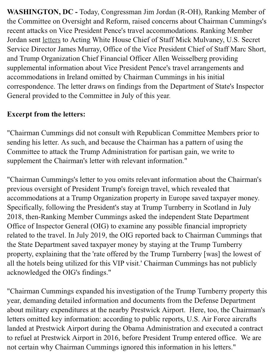 #NEW: @Jim_Jordan corrects the record on @RepCummings's partisan attacks on Trump Administration travel.   📃Read here: https://republicans-oversight.house.gov/wp-content/uploads/2019/09/Ireland-Letters.pdf…
