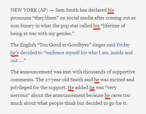Sam Smith: My pronouns are they/them Associated Press: