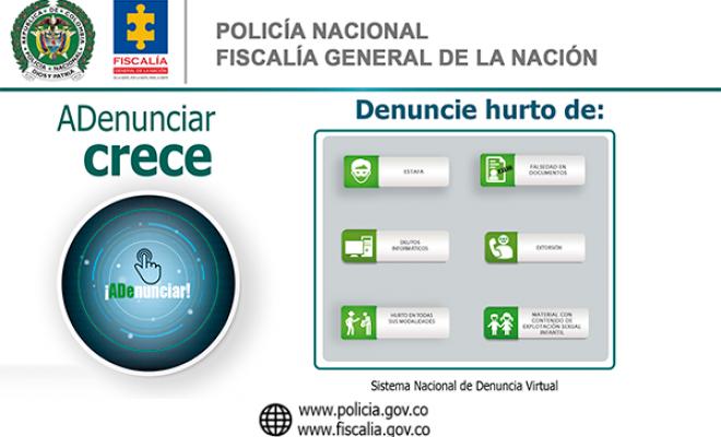 Su denuncia podrá ser recepcionada en línea, acceda a la aplicación #ADenunciar https://www.policia.gov.co/vinculos/portal-servicios-al-ciudadano…  http://www.fiscalia.gov.co