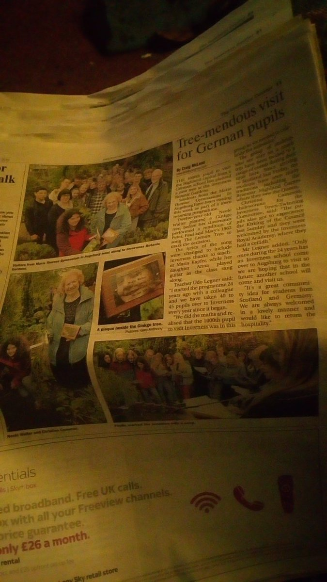 Absolutely lovely coverage in the @InvCourier about the Tree Planting ceremony held @inthebotanics on Monday as part of the Town Twinning between #Inverness and #Ausburg! pic.twitter.com/H6QgVNkx6q