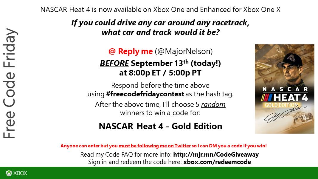 "<a href=""https://twitter.com/search?q=freecodefridaycontest"" rel=""nofollow"" title=""#freecodefridaycontest"" target=""_blank"">#freecodefridaycontest</a> time. Read this and you could win a code for NASCAR Heat 4 on Xbox One. Good luck. https://t.co/wjpk4HJUDe."