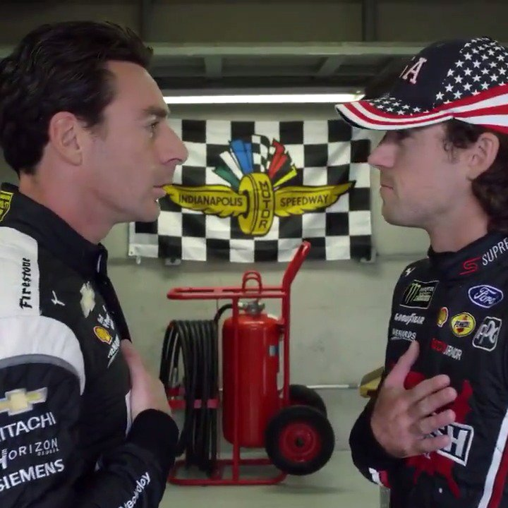 When you win the #Indy500 you get a lot of perks at #IMS. You even get to do the Jean Girard & Ricky Bobby routine with @Blaney. 😂 #LetsBrickyard | @Team_Penske