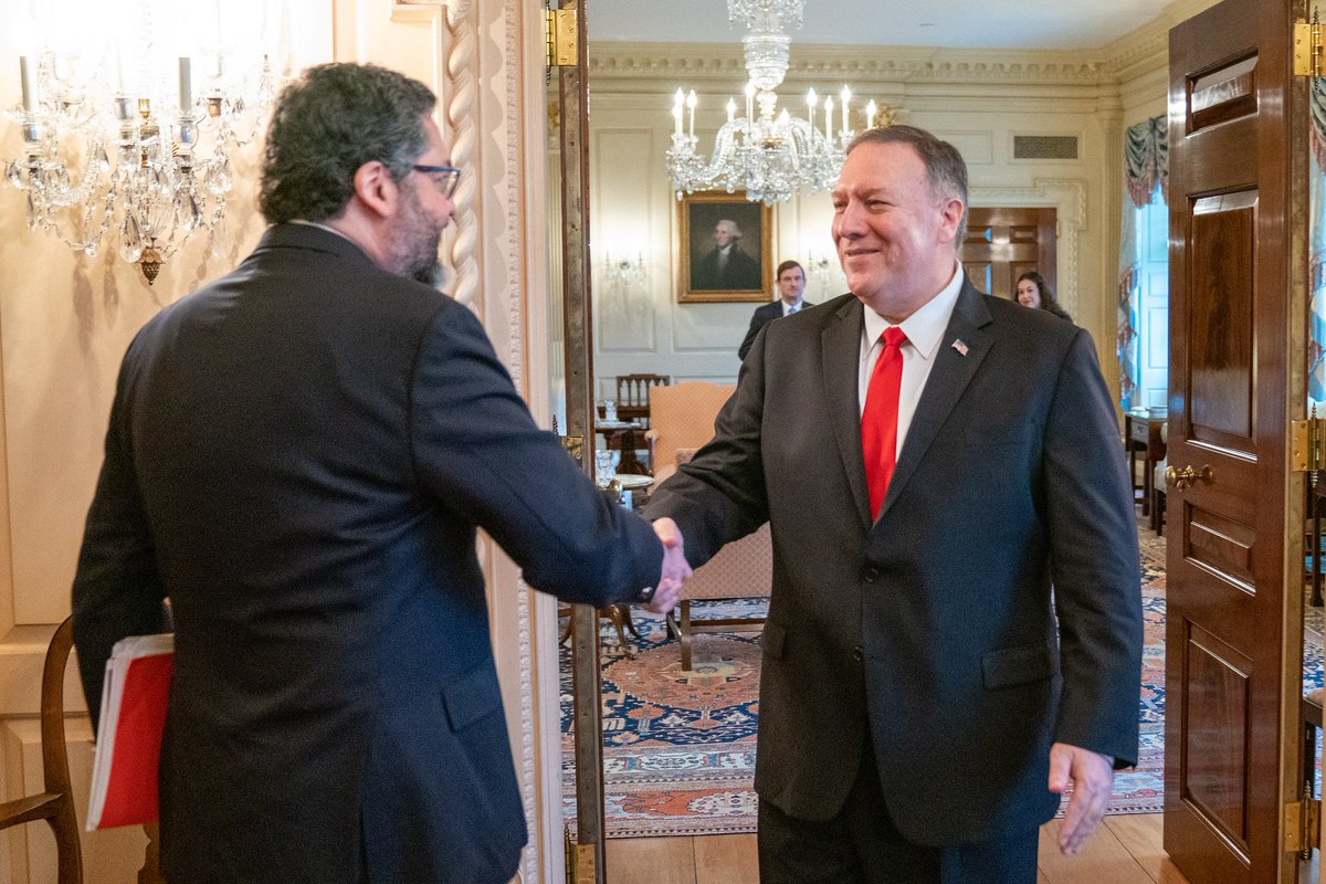 Grateful to #Brazil for our strong partnership & applaud their decisive leadership in addressing the crisis in #Venezuela. Pleased to launch the U.S.-Brazil Strategic Partnership Dialogue with FM @ernestofaraujo today. Look forward to taking our relationship to new heights!