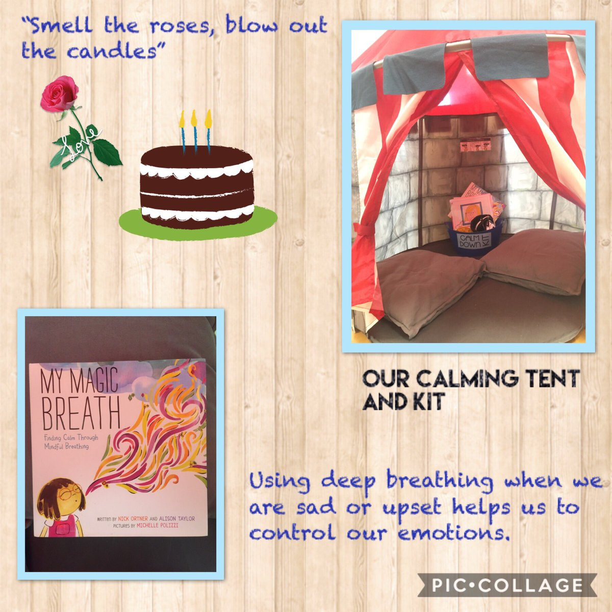 Check out our calming tent. It's a place we can go to when we need a minute alone. Perfect spot to practice mindful breathing to help calm our bodies and minds. #Mindfulness <br>http://pic.twitter.com/OIZGoIDnso