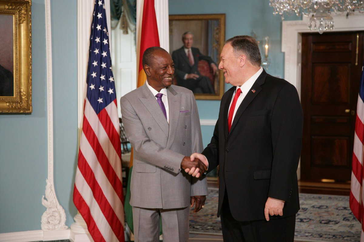 Welcomed Guinean President Alpha Condé to @StateDept today. We discussed Guinea's upcoming elections & I reiterated the critical need for regular, democratic transitions of power for a thriving democracy. We look forward to working together to advance our strong relationship.