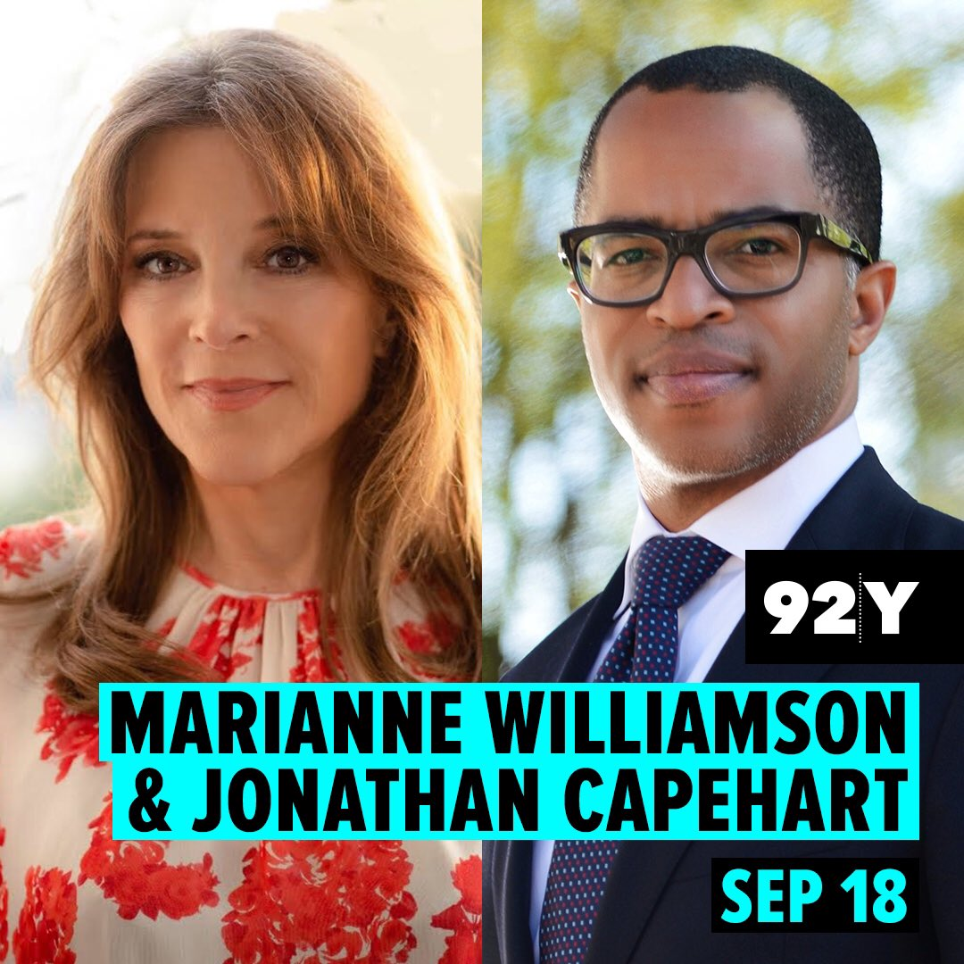 Ill be in conversation with @washingtonposts @CapehartJ on Wed, 9/18 @ 7:30 pm ET at 92nd St Y in NYC. 92y.org/event/marianne… (Note: This is not a campaign fundraiser. Ticket proceeds support the work of @92Y, a nonprofit community and cultural center.)