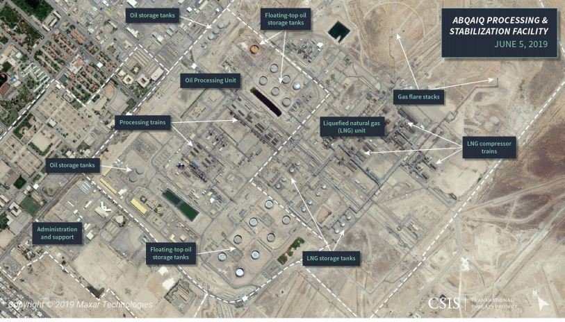 The Houthi drone strike on Saudi Arabia's #Abqaiq facility appears to be more significant than previous attacks on its oil infrastructure, as the NASA imagery below suggests. #Yemen