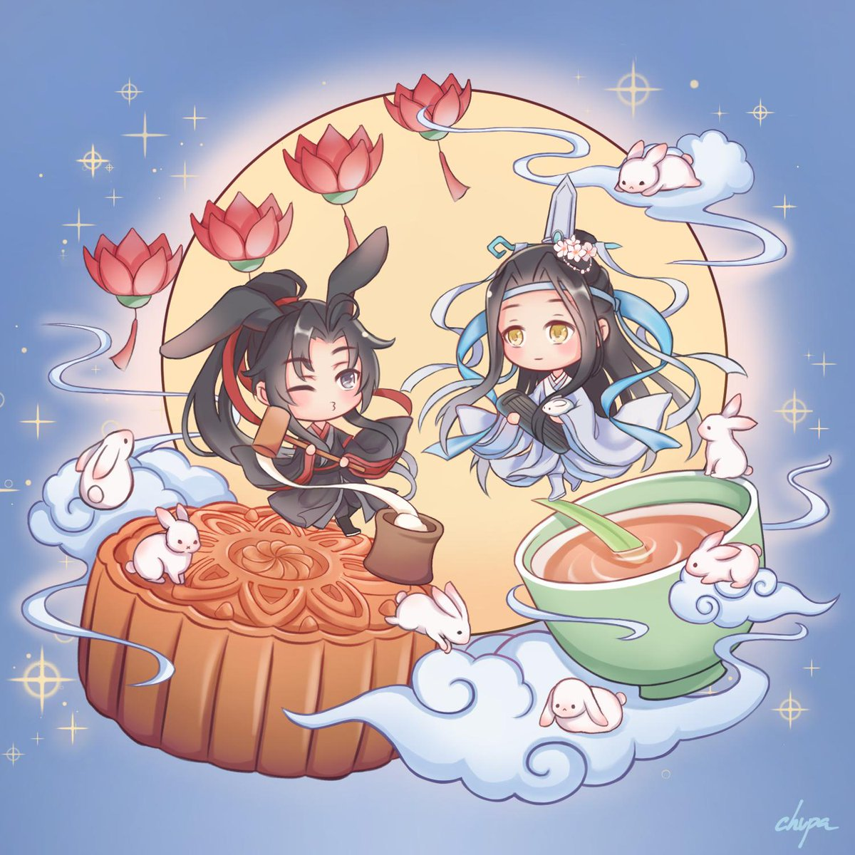 happy mid-autumn festival with chang'e lwj and moon bunny wwx 🐰🌕 #魔道祖师 #MoDaoZuShi #wangxian #忘羡