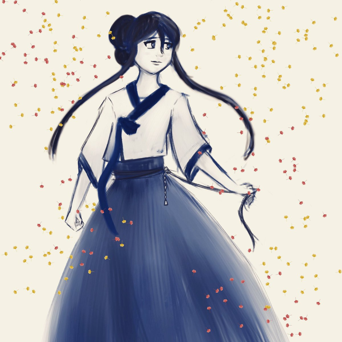 Spookish Ally Distancing On Twitter Hi I Know I Ve Been Quiet But I Wanted To Say Happy Chusuk To Everyone Korean Thanksgiving Drew One Of My Ocs In Hanbok Because Why Not Right