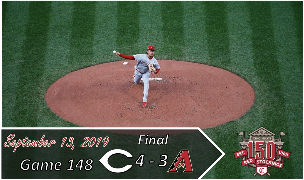 Luis Castillo has become the #Reds first 15 game winner since Johnny Cueto in 2014.#Reds take the opener in the desert, 4-3.