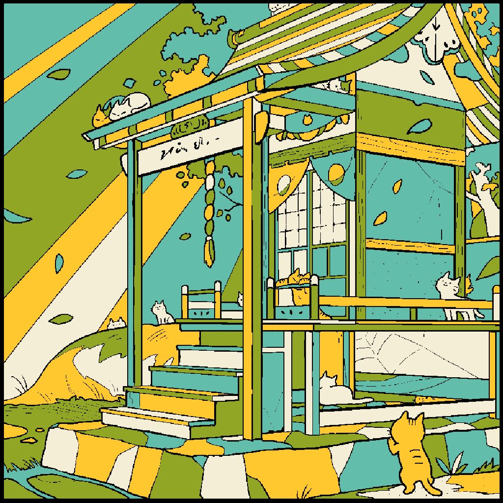 No.157 「神社と猫」#塗り絵パズル