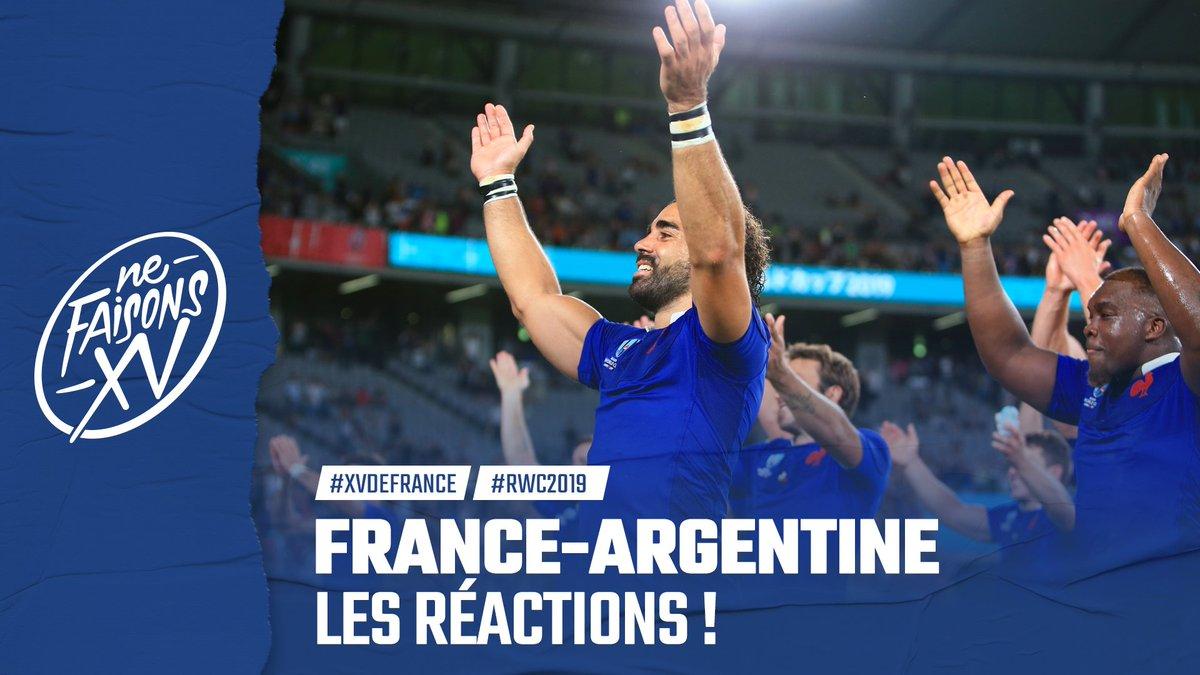 🇫🇷🇦🇷 Ça na pas été facile, mais les Bleus sont repartis de Tokyo avec la victoire ! Découvrez leurs réactions après le match dhier contre lArgentine ! #NeFaisonsXV #RWC2019 #FRAvARG #XVdeFrance 👉🏻 ffr.fr/actualites/xv-…