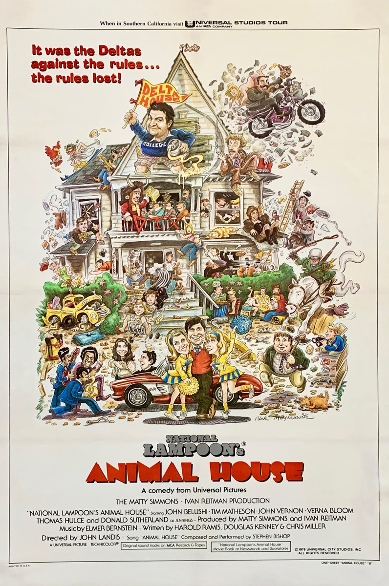 NATIONAL LAMPOON'S ANIMAL HOUSE... It was the Deltas against the rules...the rules lost !https://tinyurl.com/y34pjsou  This original US one sheet is in stock & available now #animalhouse #nationallampoons #johnbelushi #comedy #deltahouse #johnlandis #perfectgift