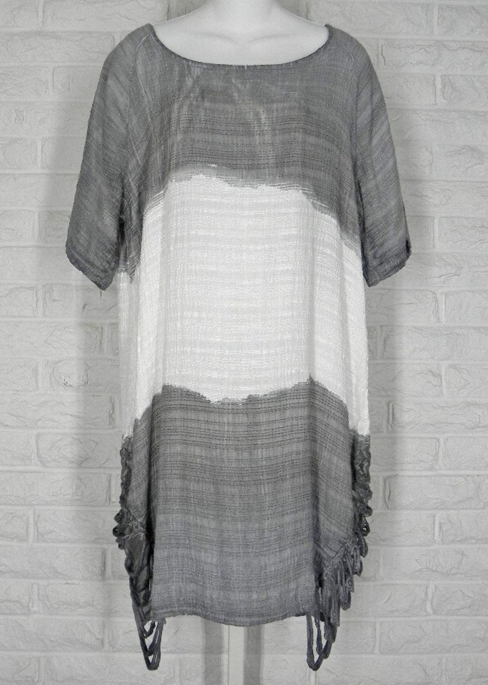 M Made in Italy Tunic Woven Slub Cotton Ombre Grey White NWT Small http://ebay.to/2GBxuRs @eBay #layering #lagenlook #clothing #fashion #shopsmall