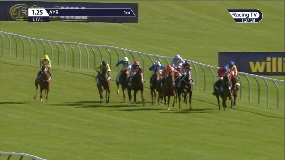 🥇  Good start to the day for Sir Mark Prescott and Buffer Zone's jockey Colin Keane as Tell Me All (9/4fav) wins the opener at Ayr.  🥈  Yoshimi denied a short-head for Paul Hanagan and @RichardFahey
