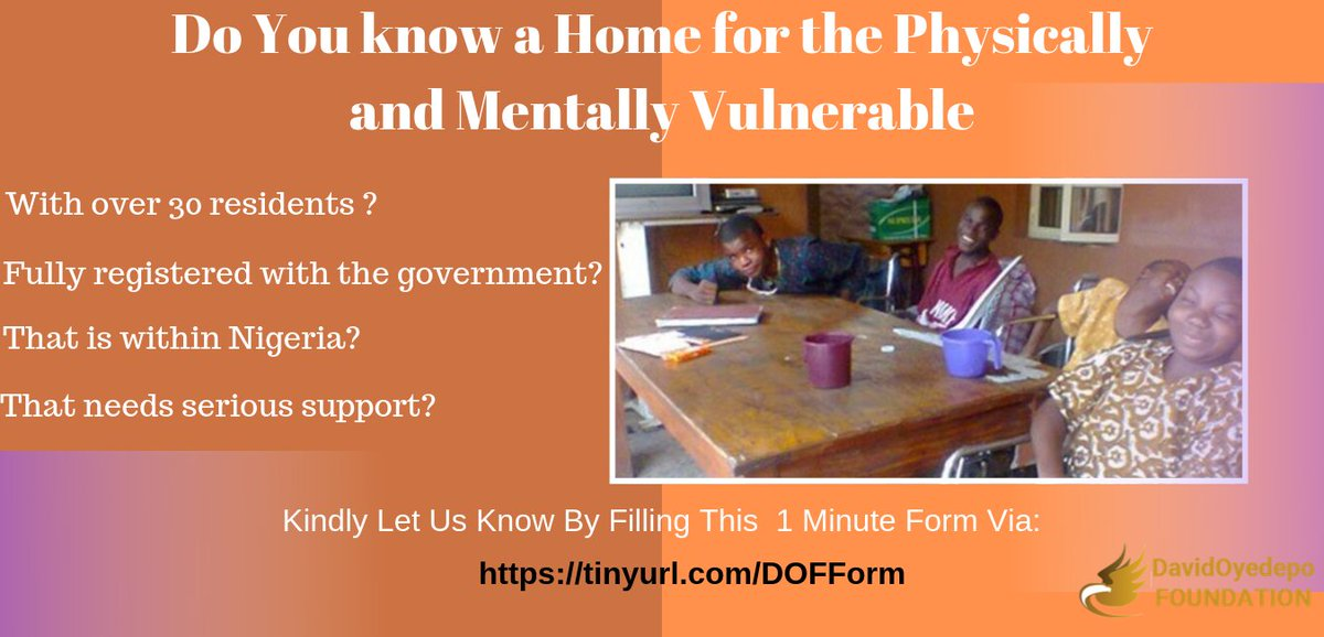 Do you know a home for the physically and mentally vulnerable that meets the criteria listed in the flyer? Kindly let us know by filling a 1-minute form using this link https://tinyurl.com/DOFForm. We are looking for new homes. #Dof #creatingabetterlifeforhumanity