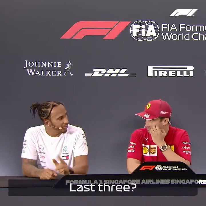 When you impress a five-time world champion, you're doing something right 👀  PS Mind your language, @LewisHamilton 😂 😉  #F1 #SingaporeGP @Charles_Leclerc